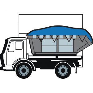 Vrachtwagen met container blauw